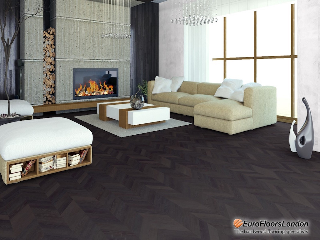 Engineered Oak Chevron, Select , Dark Smoked, Brushed & Oiled – 11/3.5x153x437mm